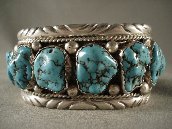 Museum Old Zuni Turquoise Native American Jewelry Silver Bracelet-106 Grams