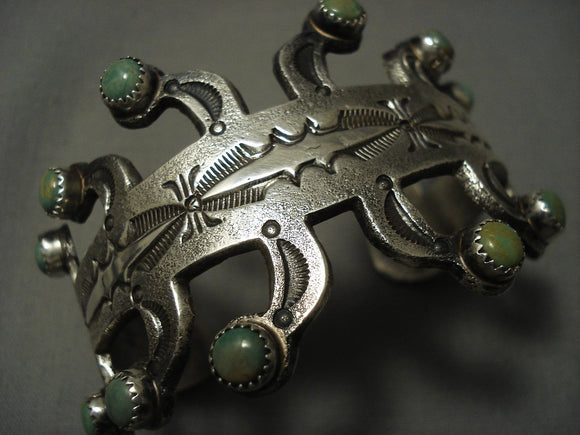 Museum Quality **green Snake Eyes Turquoise** Vintage Navajo Native American Jewelry Silver Bracelet-Nativo Arts