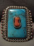 Museum Quality Opulent Vintage Navajo Turquoise Coral Native American Jewelry Silver Bracelet Old-Nativo Arts