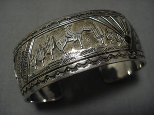 Museum Quality Vintage Native American Navajo Arizona Sky Sterling Silver Bracelet Old-Nativo Arts