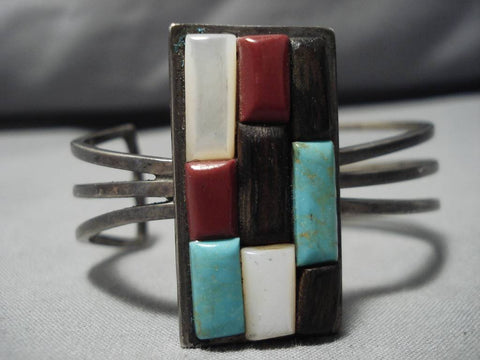Museum Quality Vintage Native American Navajo Royston Turquoise Sterling Silver Bracelet Old-Nativo Arts