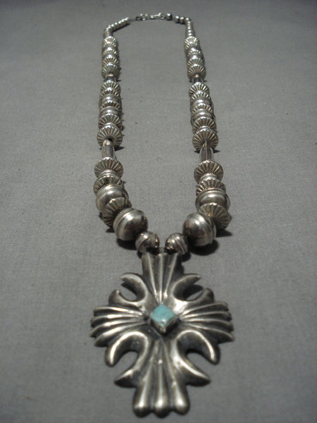 Museum Quality Vintage Native American Navajo Sterling Silver Turquoise Necklace Old