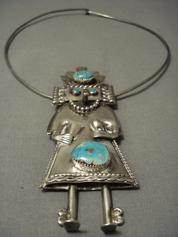 Museum Quality Vintage Navajo 4 Inch Kachina Turquoise Native American Jewelry Silver Sterling Necklace-Nativo Arts