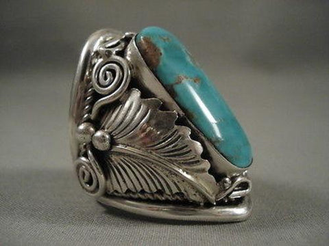 Museum Quality Vintage Navajo #8 Turquoise Native American Jewelry Silver Ring Old-Nativo Arts