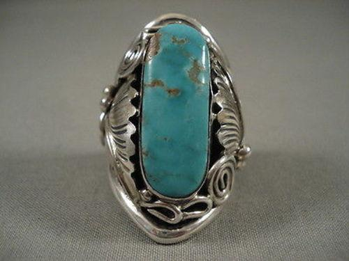 Museum Quality Vintage Navajo #8 Turquoise Native American Jewelry Silver Ring Old