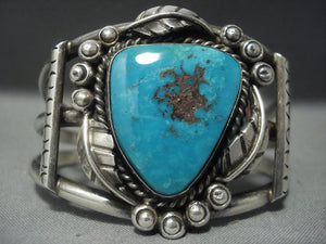 Museum Quality!! Vintage Navajo Bisbee Turquoise Sterling Native American Jewelry Silver Bracelet Old-Nativo Arts