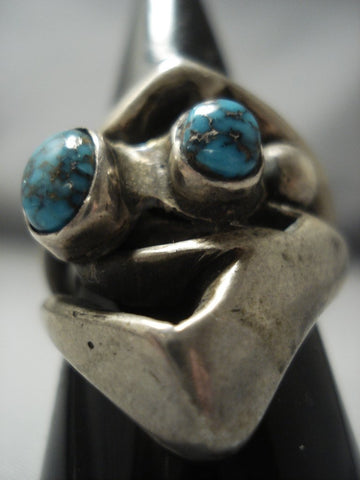 Museum Quality Vintage Navajo Bisbee Turquoise Sterling Native American Jewelry Silver Ring Old-Nativo Arts