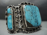 Museum Quality! Vintage Navajo Blue Diamond Turquoise Sterling Native American Jewelry Silver Bracele-Nativo Arts