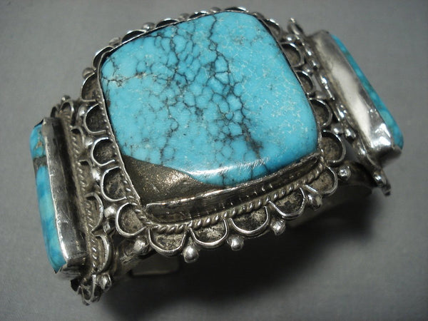 Museum Quality! Vintage Navajo Blue Diamond Turquoise Sterling Native American Jewelry Silver Bracele