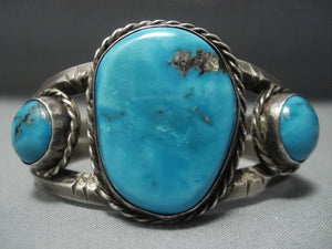 Museum Quality!! Vintage Navajo Blue Gem Turquoise Sterling Native American Jewelry Silver Bracelet Old-Nativo Arts
