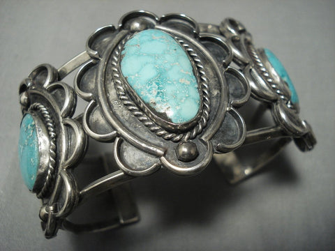 Museum Quality Vintage Navajo Carico Lake Turquoise Sterling Native American Jewelry Silver Bracelet Old-Nativo Arts