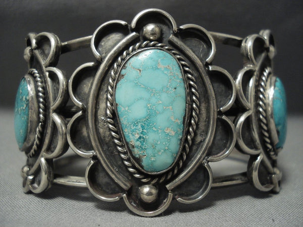 Museum Quality Vintage Navajo Carico Lake Turquoise Sterling Native American Jewelry Silver Bracelet Old