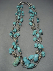 Museum Quality Vintage Navajo Carico Lake Turquoise Sterling Native American Jewelry Silver Necklace Old-Nativo Arts
