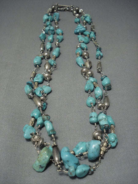 Museum Quality Vintage Navajo Carico Lake Turquoise Sterling Native American Jewelry Silver Necklace Old