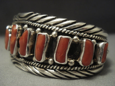 Museum Quality Vintage Navajo Chunk Coral Sterling Native American Jewelry Silver Bracelet Old Pawn-Nativo Arts