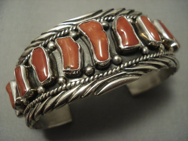 Museum Quality Vintage Navajo Chunk Coral Sterling Native American Jewelry Silver Bracelet Old Pawn