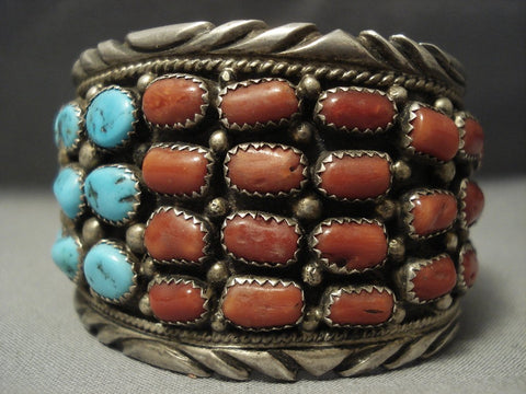 Museum Quality Vintage Navajo Chunk Coral Turquoise Sterling Native American Jewelry Silver Bracelet-Nativo Arts