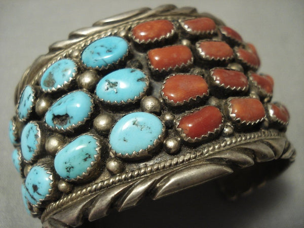 Museum Quality Vintage Navajo Chunk Coral Turquoise Sterling Native American Jewelry Silver Bracelet
