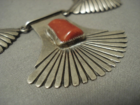 Museum Quality Vintage Navajo Chunky Coral Heavy Sterling Native American Jewelry Silver Pueblo Necklace-Nativo Arts