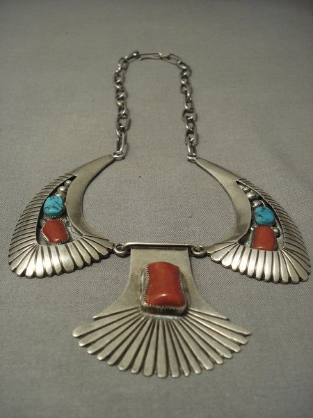 Museum Quality Vintage Navajo Chunky Coral Heavy Sterling Native American Jewelry Silver Pueblo Necklace
