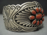 Museum Quality Vintage Navajo Coral Sterling Native American Jewelry Silver Bracelet Old Pawn-Nativo Arts