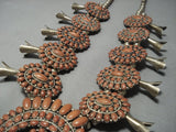 Museum Quality Vintage Navajo Coral Sterling Native American Jewelry Silver Squash Blossom Necklace Old-Nativo Arts