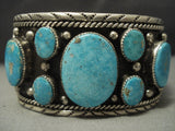 Museum Quality Vintage Navajo Easter Blue Turquoise Sterling Native American Jewelry Silver Bracelet Old-Nativo Arts
