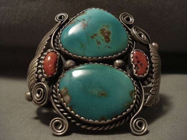 Museum Quality Vintage Navajo Green Turquoise Native American Jewelry Silver Applique Bracelet Old