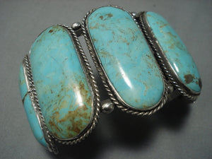 Museum Quality Vintage Navajo Green Turquoise Sterling Native American Jewelry Silver Bracelet Old-Nativo Arts
