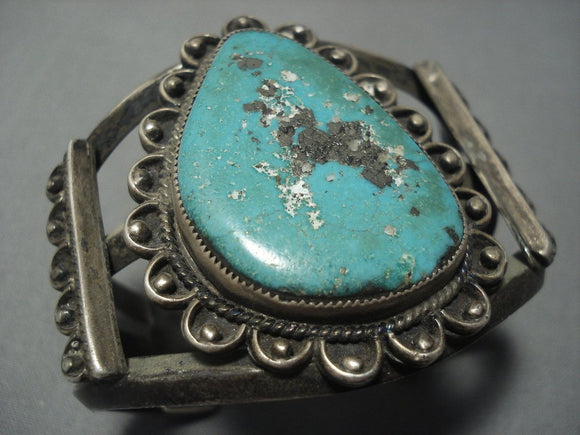 Museum Quality!! Vintage Navajo Green Turquoise Sterling Native American Jewelry Silver Necklace Old-Nativo Arts