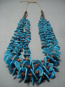 Museum Quality Vintage Navajo Native American Jewelry jewelry Turquoise Coral Necklace Old-Nativo Arts