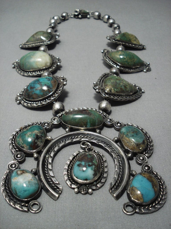 Museum Quality Vintage Navajo Native American Jewelry jewelry Turquoise Sterling Silver Squash Blossom Necklace-Nativo Arts