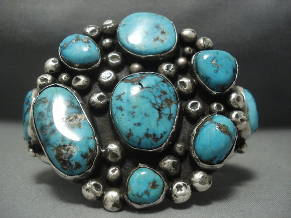 Museum Quality!! Vintage Navajo Old Morenci Turquoise Sterling Native American Jewelry Silver Bracelet-Nativo Arts