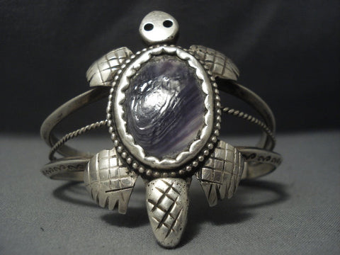 Museum Quality Vintage Navajo Purple Shell Sterling Native American Jewelry Silver Bracelet Old Pawn-Nativo Arts