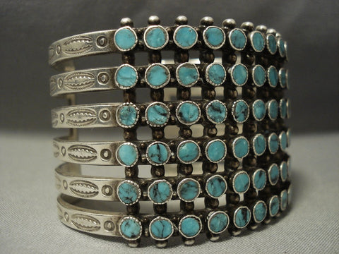 Museum Quality Vintage Navajo Snake Eyes Blue Diamond Turquoise Native American Jewelry Silver Bracelet-Nativo Arts