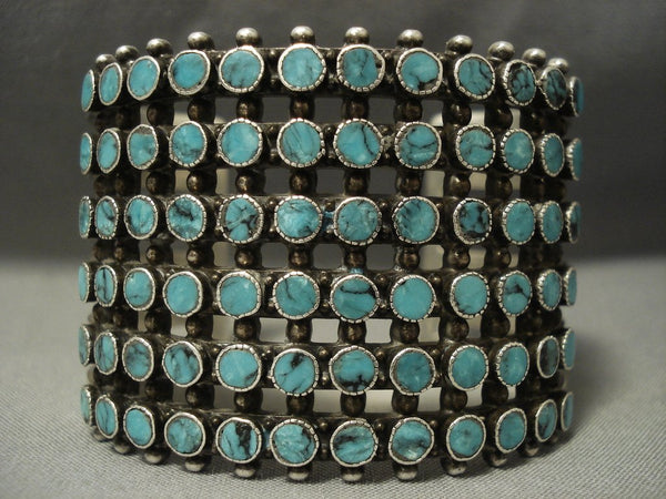Museum Quality Vintage Navajo Snake Eyes Blue Diamond Turquoise Native American Jewelry Silver Bracelet