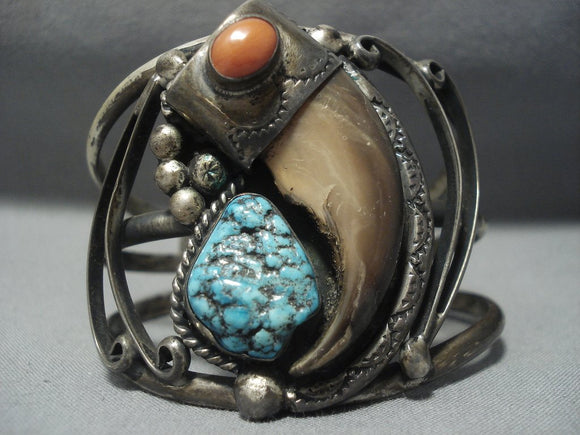 Museum Quality Vintage Navajo Spiderweb Turquoise Sterling Native American Jewelry Silver Bracelet Cuff-Nativo Arts