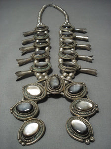 Museum Quality Vintage Navajo Sterling Native American Jewelry Silver Squash Blossom Necklace Old-Nativo Arts