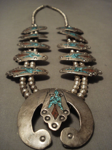 Museum Quality Vintage Navajo Turquoise Coral Native American Jewelry Silver Squash Blossom Necklace Old-Nativo Arts