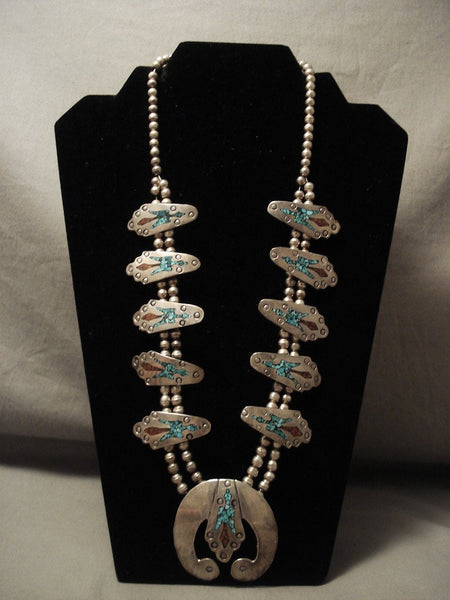 Museum Quality Vintage Navajo Turquoise Coral Native American Jewelry Silver Squash Blossom Necklace Old