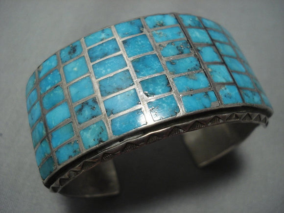 Museum Quality Vintage Navajo Turquoise Inlay Sterling Native American Jewelry Silver Bracelet Old-Nativo Arts