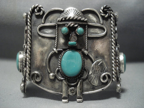 Museum Quality Vintage Navajo Turquoise Sterling Native American Jewelry Silver Kachina Bracelet Old-Nativo Arts