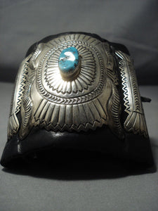 Museum Quality Vintage Navajo Turquoise Sterling Native American Jewelry Silver Ketoh Bracelet-Nativo Arts
