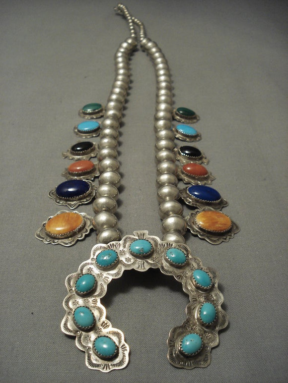 Museum Quality Vintage Navajo Turquoise Sterling Native American Jewelry Silver Squash Blossom Necklace-Nativo Arts