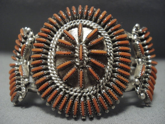 Museum Quality Vintage Zuni Coral Needlepoint Sterling Native American Jewelry Silver Bracelet Old-Nativo Arts