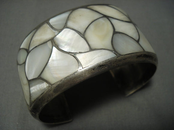 Museum Quality Vintage Zuni Mother Of Pearl Inlay Sterling Native American Jewelry Silver Bracelet-Nativo Arts