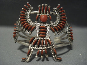Museum Quality Vintage Zuni Needlepoint Coral Sterling Native American Jewelry Silver Bracelet-Nativo Arts