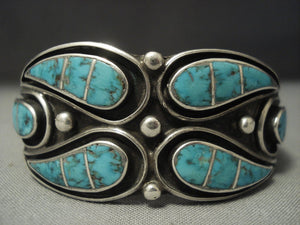 Museum Quality Vintage Zuni Turquoise Inlay Sterling Native American Jewelry Silver Bracelet-Nativo Arts