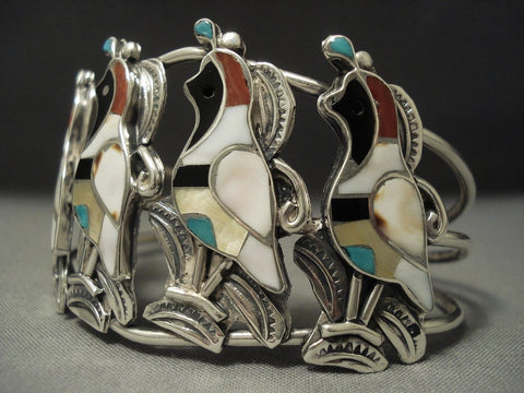 Museum Quality Vintage Zuni Turquoise Native American Jewelry Silver Quail Sterling Bracelet Old-Nativo Arts