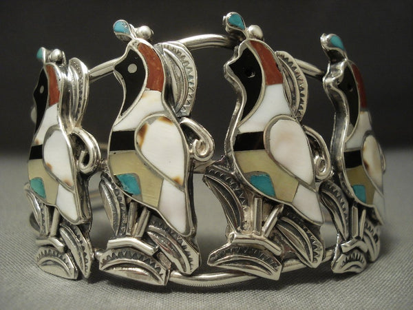 Museum Quality Vintage Zuni Turquoise Native American Jewelry Silver Quail Sterling Bracelet Old